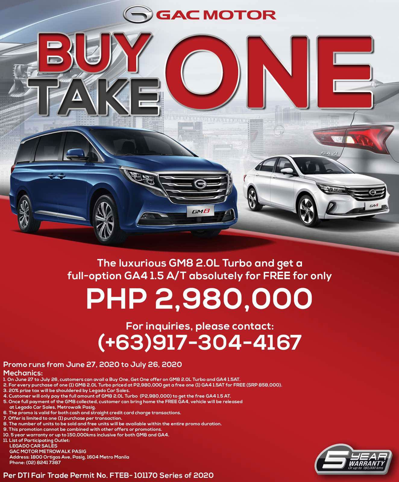 Industry News Gac Motor Philippines Offers Ultimate Buy One Take One Promo Auto Focus